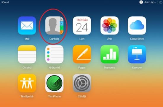 dong bo danh ba iPhone len Gmail