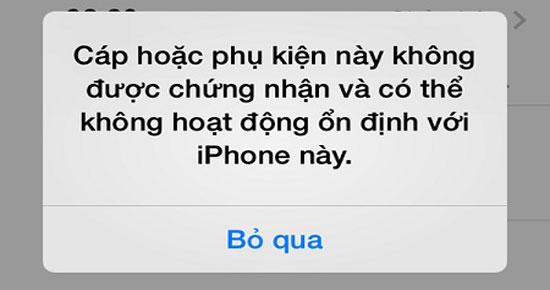 iPhone khong nhan phu kien